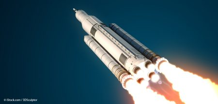 Space Launch System Takes Off. 3D Scene.